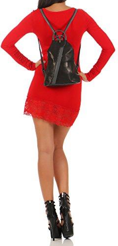 malito Mochila de la Mujer de real Cuero Mochila Multifunción T500 Mujer Talla Única (rojo-negro) negro-gris oscuro