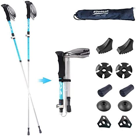 DOUDOU Trekking Poles- 2-pc Pack Adjustable Hiking Walking Sticks – Strong – Auminum Alloy 7075 Trekking Sticks Antishock and Quick Lock System Ultralight for Hiking Camping