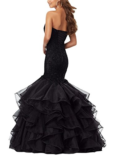 Layered Pageant Fushia Applique Womens Mermaid Prom Dress Evening Ruffles Beaded Lace for Iq6xaB1S