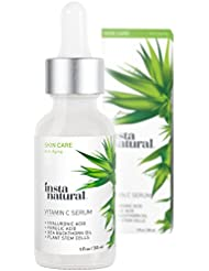 InstaNatural Vitamin C Serum with Hyaluronic Acid & Vit E - Natural & Organic Anti Wrinkle Reducer Formula for Face - Dark Circle, Fine Line & Sun Damage Corrector - Restore & Boost Collagen - 1 OZ