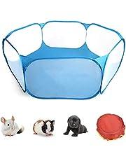 Opvouwbare box voor kleine dieren, draagbaar, pop-up omheining voor kleine dieren, ademend, oefenhek voor huisdieren, indoor, outdoor-activiteiten, loophok, omheining voor katten, puppy's, cavia's, konijnen, blauw