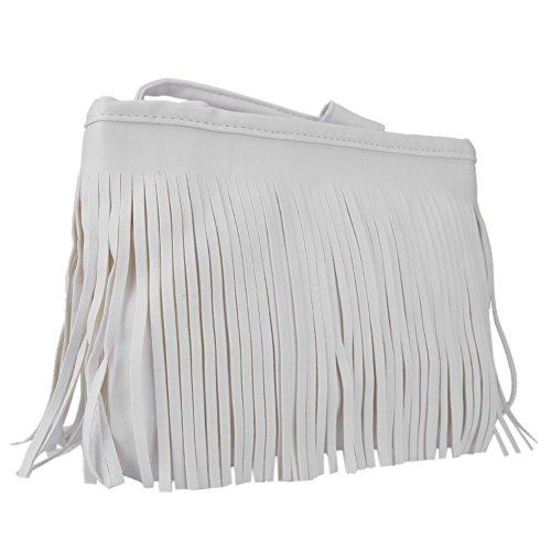 Tassel Fringe lady Hand Bag Women Messenger Fashion Shoulder Satchel Everpert White Style qU5pEwx