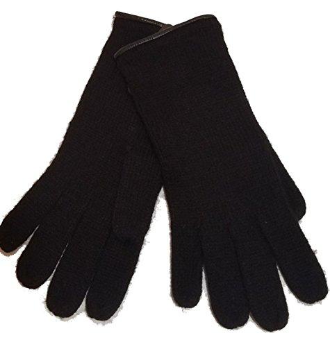 Trim Knit Gloves - Michael Kors Leather Trim Knit Gloves, Black,One Size