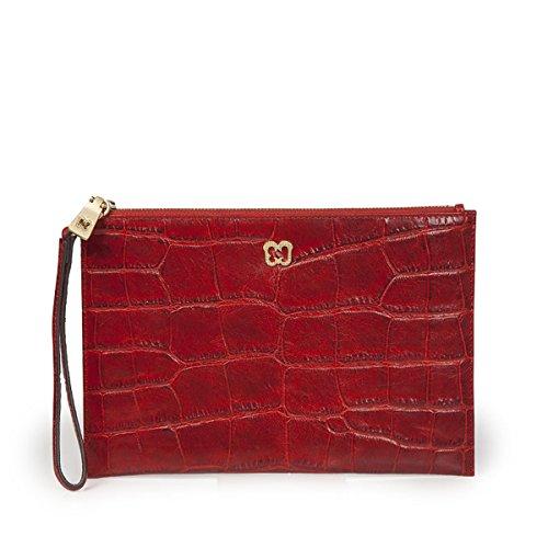 Eric Javits Luxury Fashion Designer Women's Handbag - Flat Zip Clutch - Red by Eric Javits