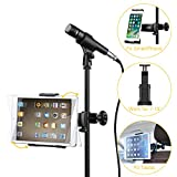 Moukey Mmsph-1 Microphone Stand Tablet Mount, Mic Tablet Holder for All Smartphones Apple iPad full range Samsung Galaxy Surface Pro/Book iPhone XR/XS/MAX/X/8 7 Plus