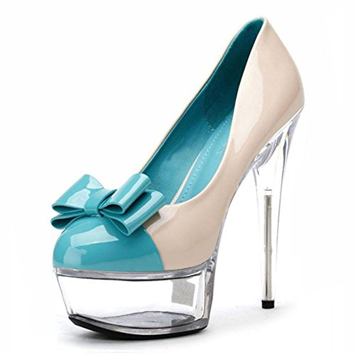 L@YC Frauen High Heels 15cm Peep Toe Bag mit blauen Big Ball Single Schuhe 42