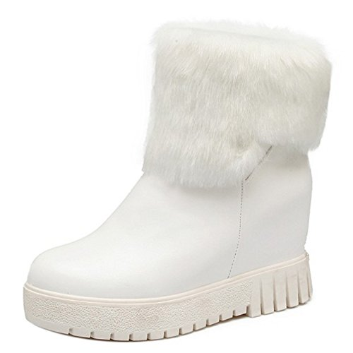 Women Boots Pull Heel White Hidden On Taoffen q4vwxSw