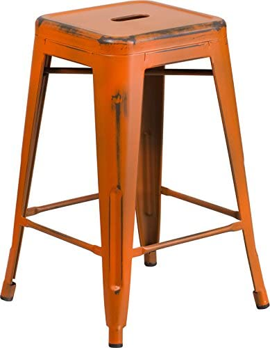 24 High Backless Industrial Style Distressed Orange Counter Height Metal Restaurant Bar Stool – Indoor Outdoor