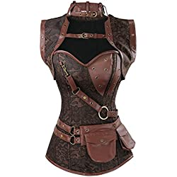 Charmian Women's Steampunk Goth Retro Spiral Steel Boned Jacket Corset with Belt Coffee Brown XXXXX-Large