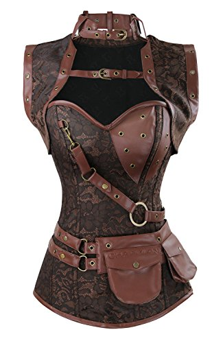 Charmian Women's Spiral Steel Boned Steampunk Gothic Vintage Brocade Corset with Jacket and Belt Coffee Brown X-Large]()