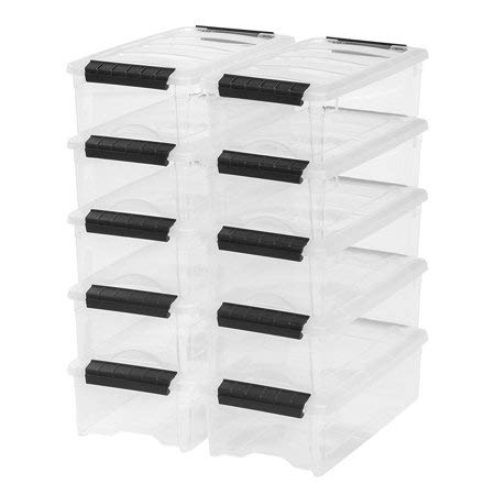 (5 Quart Stack & Pull Box in Clear, Set of 10)