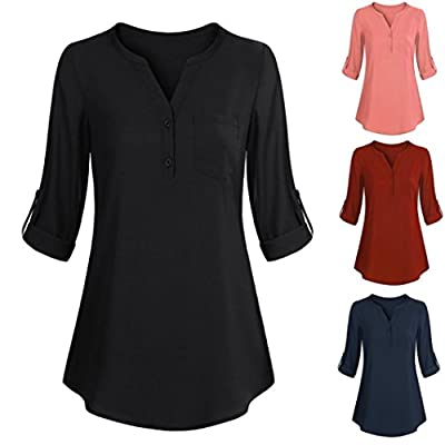 iDWZA Women Long Sleeve Roll-up Solid Color Top Casual V Neck Button Layered T Shirt Blouse