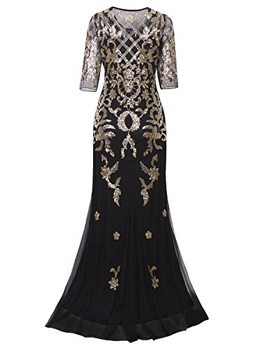 Vijiv Vintage 1920s Long Wedding Prom Dresses 2 3 Sleeve