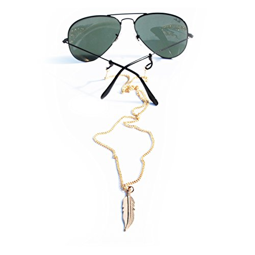 Sintillia Feather Drop Backlace Sunglass Strap, Glasses Chain, Eyeglass Cord (Silver with Clear - Straps Sunglass Sintillia