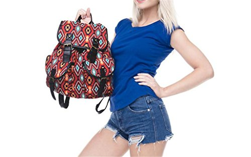 SHFANG Student Double Schultertasche Retro Gürtelschnalle Gürtel Oxford Cloth Shopping School Tourismus Daily Girl Red