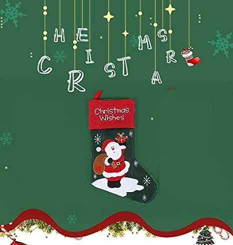 S/ü/ßigkeitsgeschenksocken nichtgewebte handgemachte Stickerei Nikolausstrumpf Weihnachtssocken Nikolausstiefel H/ängende Str/ümpfe Lypumso Weihnachtsstrumpf Feiertags-Weihnachtsbaumdekoration 44cm