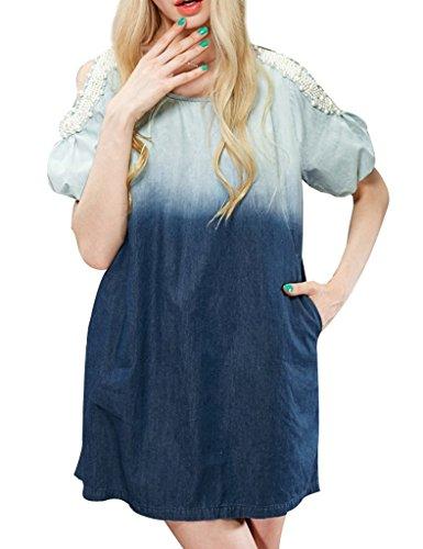 Elf Sack Womens Spring Bleached Beading Pearl Denim Dress Blue Small