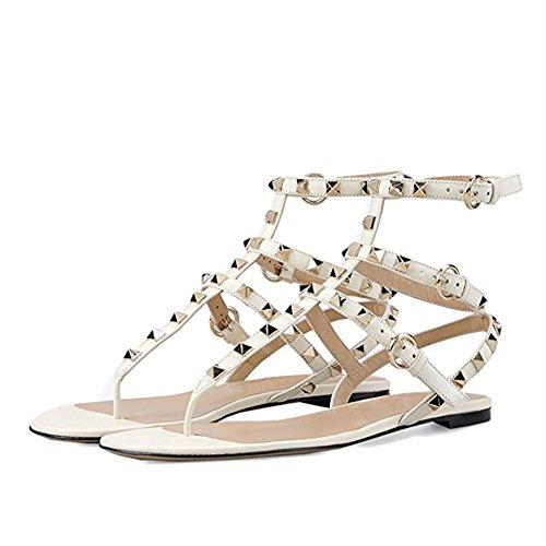 Donna Borchie Borchie per Slide con 45EU 35 Bianco Caitlin Open Mid Chunky Dress Sandals Heels Slipper con Pan Infradito Heel Block Sandali Toe 6a6YSnI