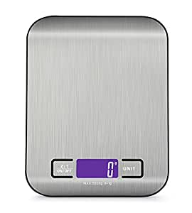 Digital Kitchen Scale Multifunction Food Scale, 11 lb 5 kg, Silver, Stainless Steel