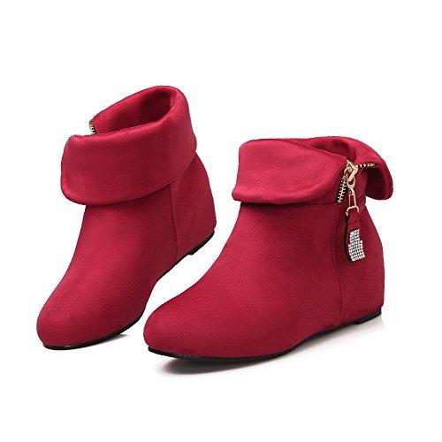 Tachonado AllhqFashion Rojo Mujeres de Tachonado Diamante de Caña Imitación Botas Cuña Baja con 1rx0wr