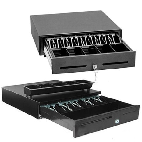 2xhome - Heavy Duty POS Point of Sale/cash Register Rj-12 Key-lock Cash Drawer W/bill & Coin Trays (Black) with 12v, Compatible with Most Major Epson Star Citizen JAY Star Bixolon Printers (Cash Drawer Black)