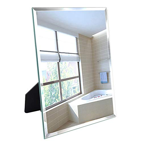 Artsay Frameless Mirror Wall Hanging and Desk Standing, Compatible with Makeup Vanity Mirrors,10.6x13 inch (Standing Wall Desk)