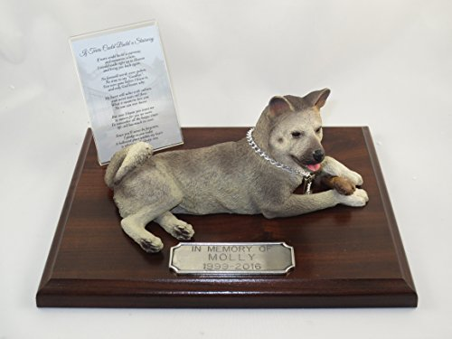 - Beautiful Walnut Finished Personalized Memorial Plaque With Gray Akita Figurine