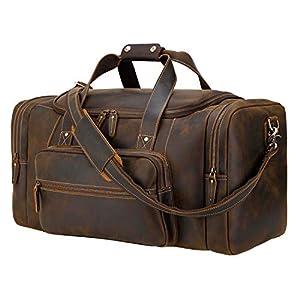 "Polare 23"" Full Grain Cowhide Overnight Travel Duffel Bag 9"