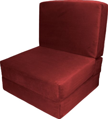 Epic Furnishings Nomad Flip Chair Sleeper Bed, Microfiber Suede Cardinal Red