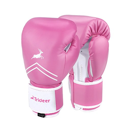Trideer Pro Grade Boxing Gloves, Kickboxing Bagwork Gel Sparring Training Gloves, Muay Thai Style Punching Bag Mitts, Fight Gloves Men & Women (Pink, 8 oz)