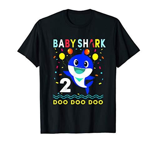 (Kids Baby Shark Shirt Toddler 2nd birthday 2 Year Old Boy or)