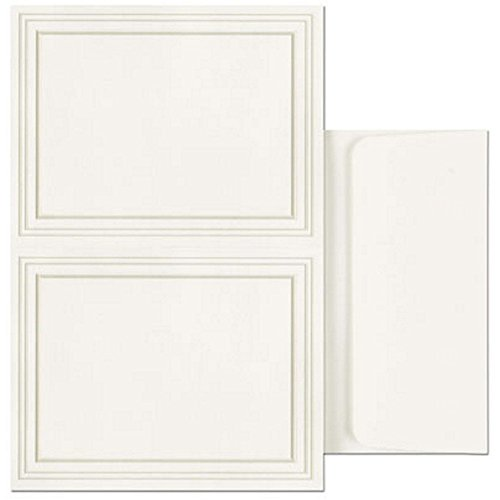 Triple Pearl Border 2-Up Postcards With Envelopes - 50 Pack