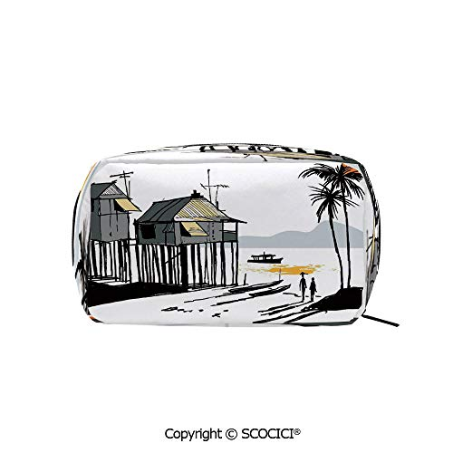Cabelas Canoe - Rectangle Organizer Toiletry Makeup Bags Pouch Sketchy Fishing Village Malay in Singapore with Houses Canoe Palms Sun Portable Makeup Brushes Bag
