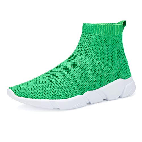 WXQ Men's Athletic Walking Shoes Lightweight Fashion Sneakers Breathable Flyknit Running Shoes Green 43
