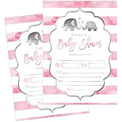 50 Fill in Elephant Baby Shower Invitations