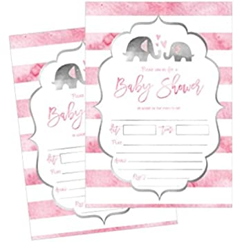 Amazoncom 50 Fill in Elephant Baby Shower Invitations Baby