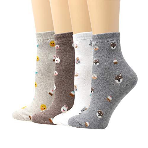 LIVEBEAR 4 Pairs Womens Cute Mini Print Funny Novelty Casual Cotton Made In Korea Crew Socks (Animals, Bow, Desserts, Mini Icons, ()