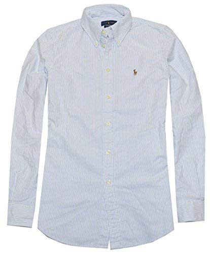 Long Sleeve Striped Oxford Shirt - Ralph Lauren Women Classic Fit Striped Oxford Shirt (Large, Powder Blue/White)
