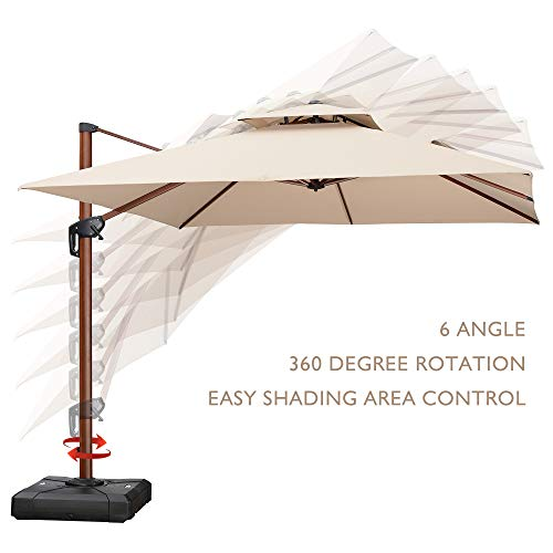 (PURPLE LEAF 10 Feet Double Top Deluxe Wood Pattern Square Patio Umbrella Offset Hanging Umbrella Outdoor Market Umbrella Garden Umbrella,)