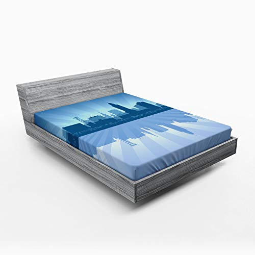 Ambesonne Nebraska Fitted Sheet, Lincoln City Skyline Silhouette Illustration in Blue Metropolis Buildings, Soft Decorative Fabric Bedding All-Round Elastic Pocket, Queen Size, Blue and Ceil Blue