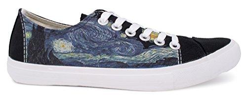 Sterrennacht Sneakers | Cute, Fun Van Gogh Sky-art Print Tennisschoen - Dames Heren Zwart
