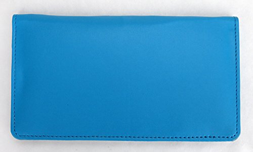 1/2' Clear Holder - Teal Smooth Leather Checkbook Cover