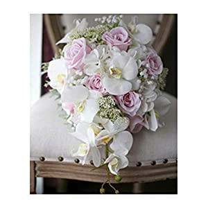 New Vintage Artificial Flowers Waterfall Wedding Bouquets Pink Cascading Bridal Bouquets De Mariage Roses Orchid Hot,White 75