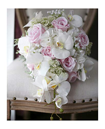 New Vintage Artificial Flowers Waterfall Wedding Bouquets Pink Cascading Bridal Bouquets De Mariage Roses Orchid Hot,White