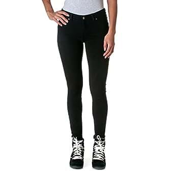 ToBeInStyle Women's Elastic Skinny Pull On Jeggings w/ Zipper & Button,Medium,Black