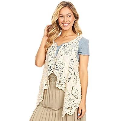 Women's Floral Open Stitch Cardigan Boho Hippie Crochet Vest Bikini Cover Up at Women's Clothing store