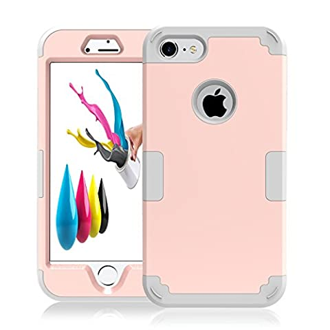 iPhone 7 Case Grip, iPhone 7 Cover Hard Case Flexible TPU Rubber Ultra Thin Slim Protective Bumper Hybrid Armor Defender Heavy Duty Impact Protection Shockproof for Apple iPhone 7 (2016) Rose - Platinum Mobile Square