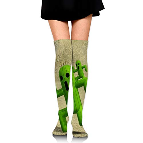 Guoxichangtuiwa Final Fantasy - Cactuar Women's Girl's Breathable Cotton Comfortable Fashion Over The Knee High Leg Athletic Thigh Highs Socks,Cosplay -
