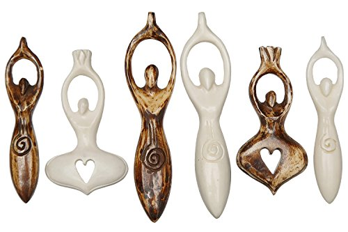 Curious Designs Pendants, Goddesses - Carved Bone, Five Goddess and One Spiritual Mystery (Bone Goddess Pendant)