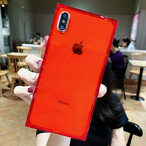 Tzomsze Square Case for iPhone XR, Reinforced Corners TPU Cushion,Crystal Clear Slim Cover Shock Absorption TPU Silicone Shell-Red